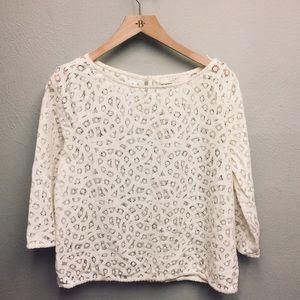Loft Cream Crochet Knit top